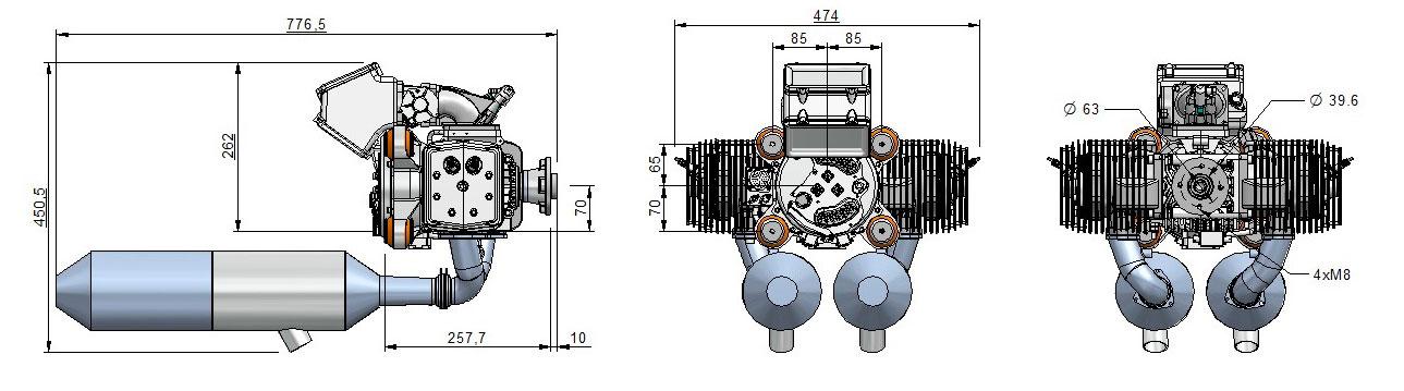 Dimensions 498H engine