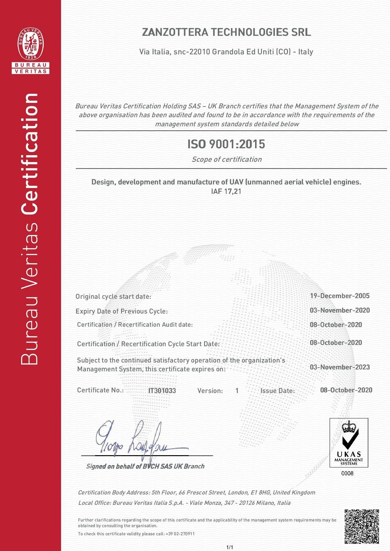 Certificate Zanzottera